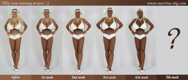 Progression shot showing Martina Big's tanning project